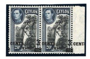 CEYLON KGVI ERROR Stamp 1940 MISPLACED 3c SURCHARGE SG.399 Variety TEA MC126