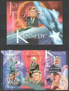 BC979 2012 MOZAMBIQUE  95TH ANNIVERSARY USA PRESIDENT JOHN KENNEDY BL+KB MNH