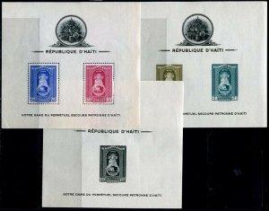 HERRICKSTAMP HAITI Sc.# C19A-21A 1942 Madona S/S Perf & Imperf Mint LH
