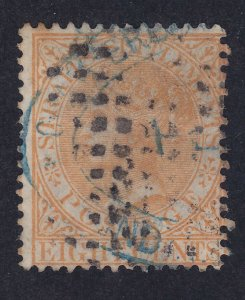 Straits Settlements 13a Used 1867 QV 8c Orange Perf 14 Watermarked #1 CC VF