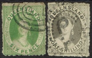 QUEENSLAND 1863 QV CHALON 6D AND 1/- NO WMK USED