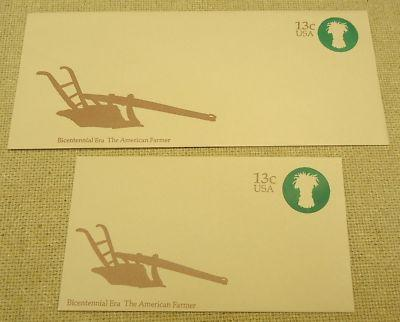 U573, 13c U.S. Postage Envelope: Farmer lot of 2