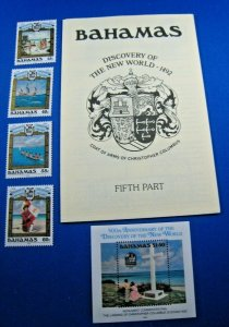 BAHAMAS 1992  -  SCOTT # 748-752 & 753 S/S  MNH     (SM4)