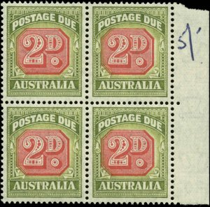 Australia Scott #J73 Block of 4 Mint Never Hinged