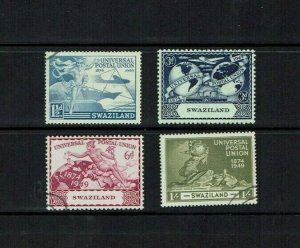 Swaziland: 1949 75th Anniversary of UPU, Fine used set.
