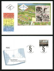 Aland. FDC 5 different  complete 1991 in Folder