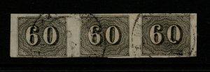 Brazil SC# 24, horizontal strip of 3, Used, Hinge Remnant - S10147