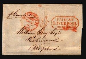 1848 (Sep 23) Retaliatory Rate Cover / RMS Cambria / 34c Liverpool to VA - L4722