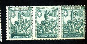 ITALY #207 MINT STRIP  OF 3 FVF OG NH Cat $240