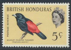 British Honduras SG 206 SC # 171 MLH  Birds Tanager  see scans