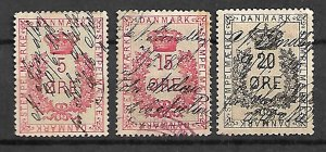 DENMARK FISCAL REVENUE TAX 3 STAMPS 1880s