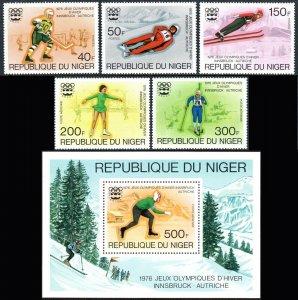 Niger 347-349,C266-C267,C268 S/S, MNH. Winter Olympic Games, Innsbruck, 1976