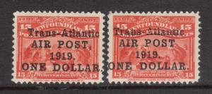 Newfoundland #C2 #C2a VF Mint Duo