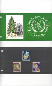 Jersey 411-3 Christmas and Peace 1986 MNH, Presentation Pack