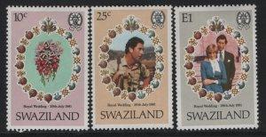 SWAZILAND 382-384 (3) set, Hinged, 1981 Royal wedding issue