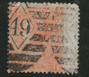 Great Britain Scott 43 1865 Plate 9 Queen Victoia CV$65