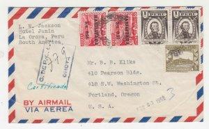 PERU, 1952 Airmail cover, La Oroya to USA.