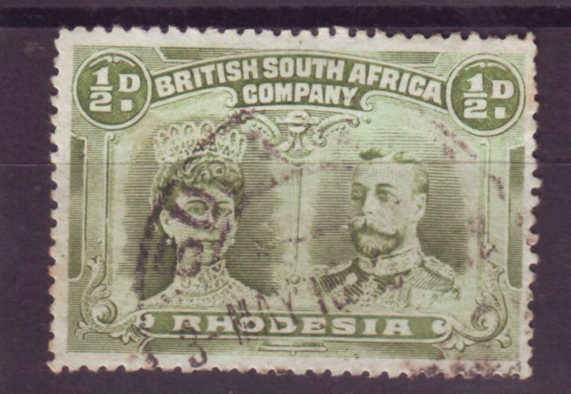 J17079 JLstamps 1910 rhodesia used #101 king and queen