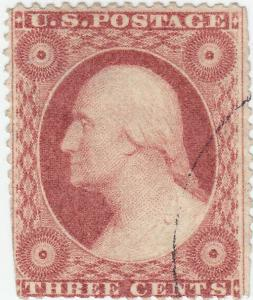 Scott #26 - 3c Dull Red - Washington- Used - SCV - $9.00