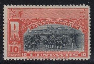 Colombia 1910 10c Red & Black Registration Stamp M Mint. Scott F22