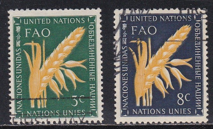 United Nations - New York # 23-24, FAO - Ear of Wheat, Used, 1/3 Cat.