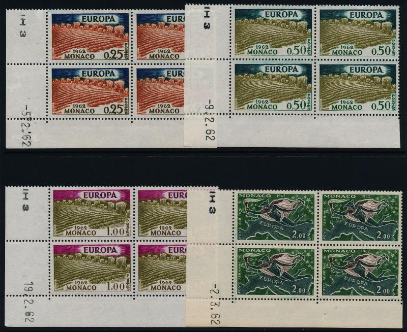 Monaco 507-9, C61 BL Blocks MNH EUROPA, Wheat Fields, Map