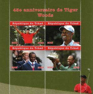 Chad Golf Stamps 2020 MNH Tiger Woods Sports Donald Trump Famous People 4v M/S