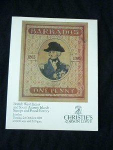 CHRISTIE'S ROBSON LOWE AUCTION CATALOGUE 1989 BRITISH WEST INDIES & S.A. ISLANDS