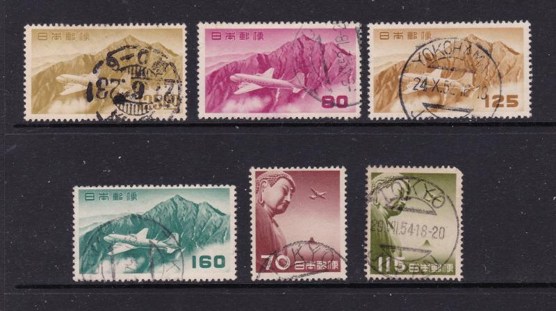 Japan x 6 used Air stamps from about 1950's
