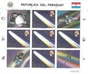 1986    PARAGUAY  -  HALLEY'S COMET   -  SHEETLET  -  MNH