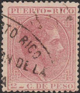 PUERTO-RICO ca.1882 Mi.60 cancelled Customs Office Hand-Stamp (see description)