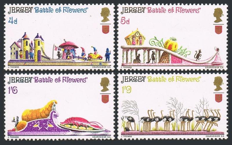 Jersey 30-33,hinged.Michel 30-33. Battle of Flowers parade,1970.Ostriches.