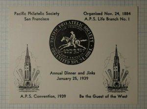 APS Dinner & JInks 1939 SF CA Pony Express Philatelic Souvenir Ad Label