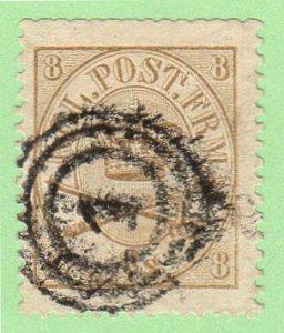 DEN SC #14 1868 Royal Emblems w/blunt perfs @ T, CV $95.00