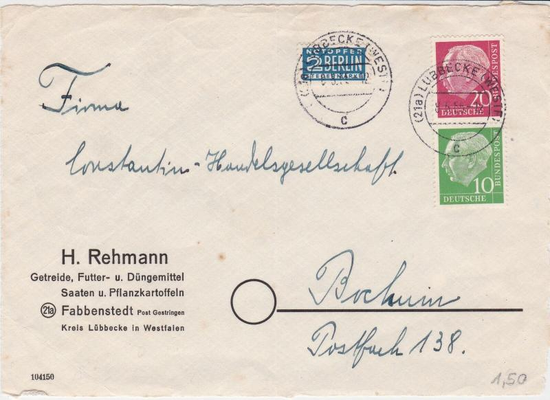Germany 1955 Lubbecke Cancel Obligatory Tax Aid Berlin Stamps Cover FRONT  26506