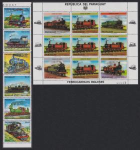 Paraguay British Locomotives strip of 6v+Sheetlet SC#2124-2125