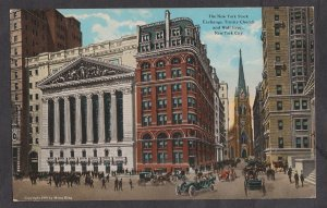 Unused Postcard:  New York City – Stock Exchange and Trinity Church