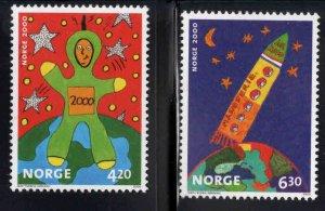 Norway Scott 1264-1265 MNH** Children's Art set 2000