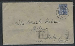 ZANZIBAR  (PP2608B)  1949 COVER   SULTAN 30C   TO  ITALY WITH ARRIVAL B/S