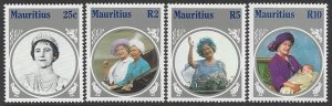 Mauritius #604-7 MNH set, Queen Mother 85th Birthday, issued 1985
