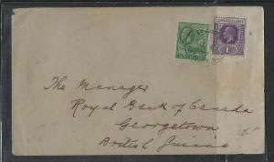 LEEWARD ISLANDS  (P1104B) 1927  KGV 1D+ ANTIGUA 1/2D ANTIGUA TO BRITISH GUIANA