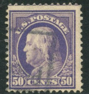 US Sc#422 1912 50c Franklin Perf 12 Double-Lined Wmk 191 Fine Used (cd)