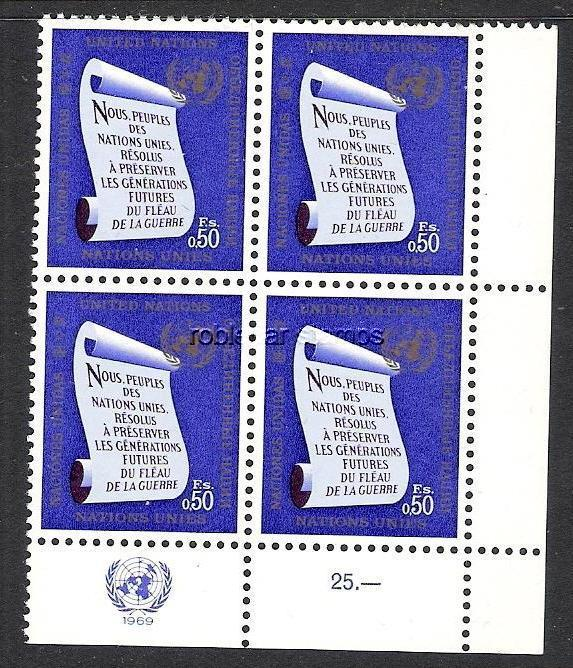 UNITED NATIONS GENEVA  5 MNH BLOCK OF 4[D3]