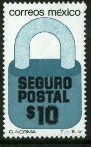 MEXICO G28, $10P Padlock Insured Letter Unwmk Fluor Paper 5. MINT, NH. F-VF.