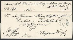 HUNGARY 1863 folded official letter ex UNG:ALTENBURG.......................10439