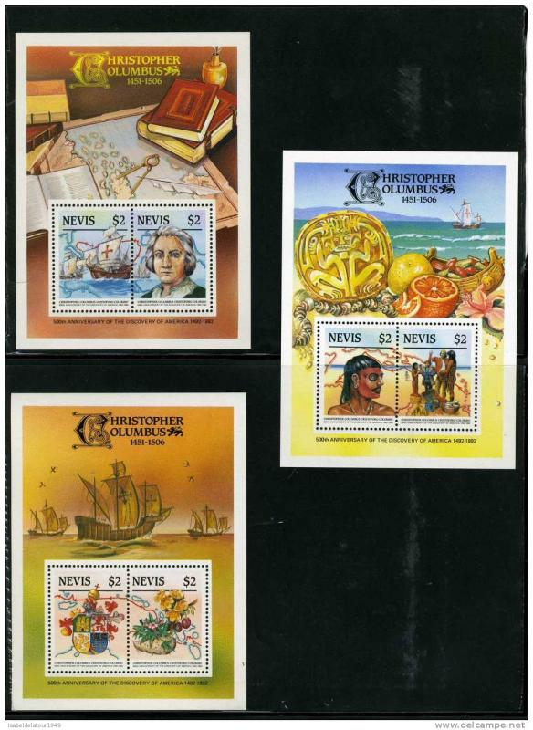 Nevis 1986   500th.Anni.Disc.America Columbus 3 SS DELUXE MNH