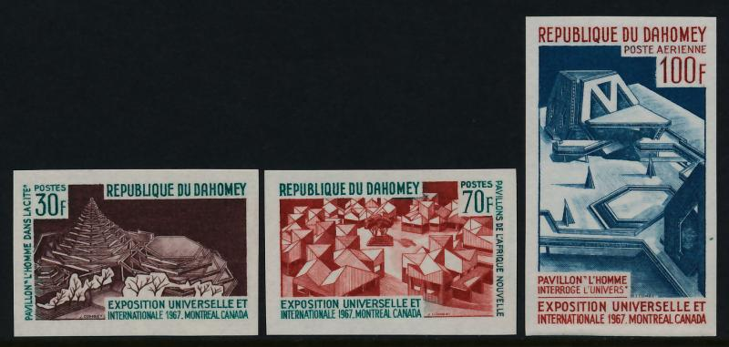 Dahomey 235-6, C57-7a imperf MNH Expo 67, Pavillions
