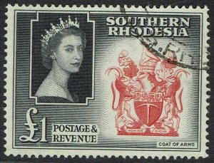 SOUTHERN RHODESIA 1953 QEII ARMS 1 POUND USED