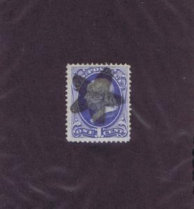 SC# 134 USED 1 CENT FRANKLIN, 1870, H GRILL, 5 PT STAR FANCY CCL, PF CERT.