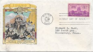 896 FDC, Hand Colored Cache, Idaho Statehood Anniversary, Free Insured Shipping;